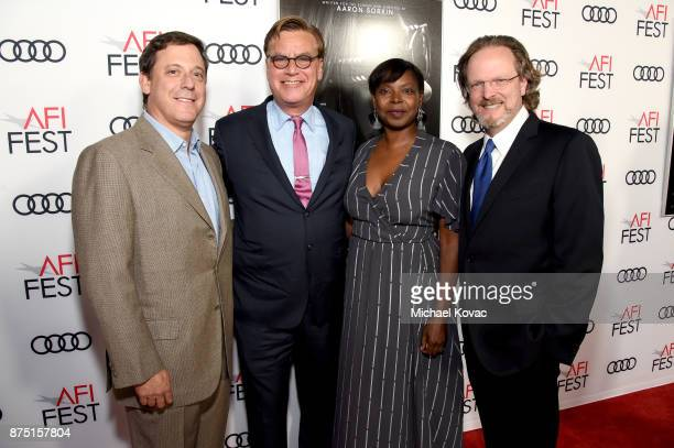 Chairman of STX Films Adam Fogelson Aaron Sorkin Festival Director for AFI FEST Jacqueline Lyanga and CEO of AFI Bob Gazzale attend the screening of...