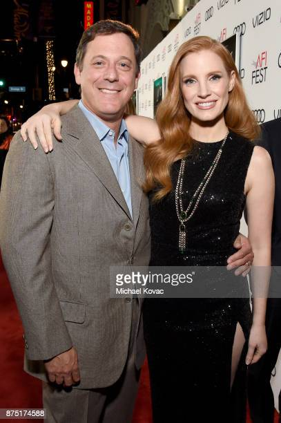 Chairman of STX Films Adam Fogelson and Jessica Chastain attend the screening of 'Molly's Game' at the Closing Night Gala at AFI FEST 2017 Presented...