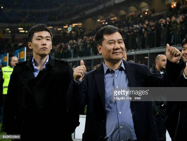 Chairman of Suning holdings group Zhang Jindong and FC Internazionale Milano board member Steven Zhang Kangyang react prior to the Serie A match...