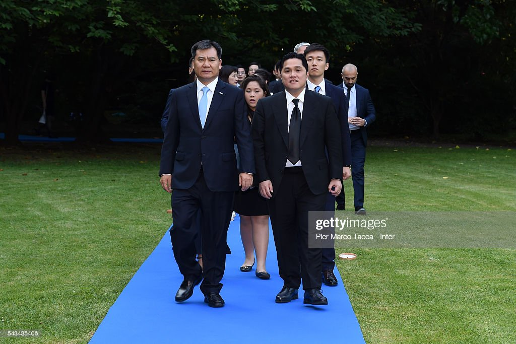 Chairman of Suning Holdings Group Zhang Jindong and President of FC Internazionale <a gi-track='captionPersonalityLinkClicked' href=/galleries/search?phrase=Erick+Thohir&family=editorial&specificpeople=9531719 ng-click='$event.stopPropagation()'>Erick Thohir</a> attend a gala dinner after the FC Internazionale Shareholder's Meeting on June 28, 2016 in Milan, Italy.