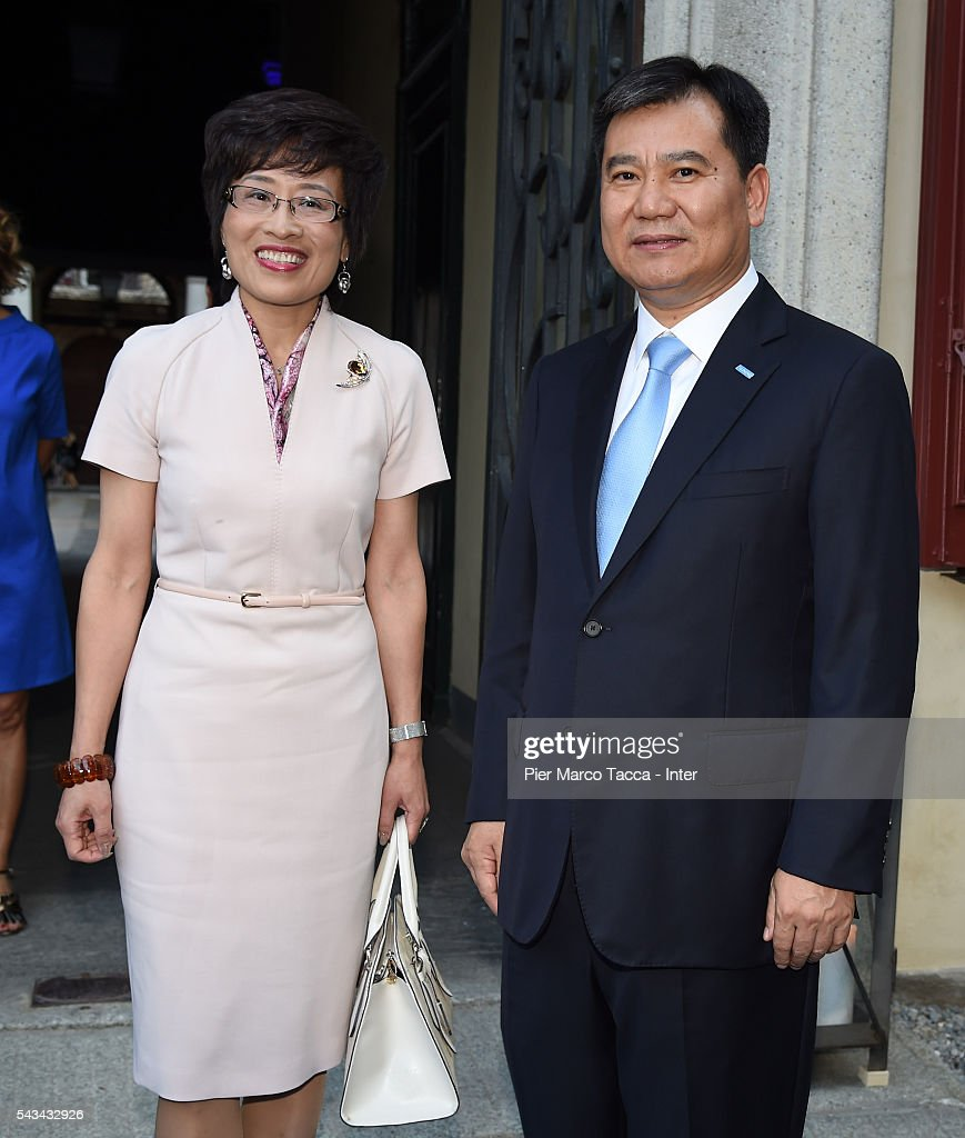 Chairman of Suning Holdings Group Zhang Jindong and the Chinese consul in Milan Wang Dongi attend a gala dinner after the FC Internazionale Shareholder's Meeting on June 28, 2016 in Milan, Italy.