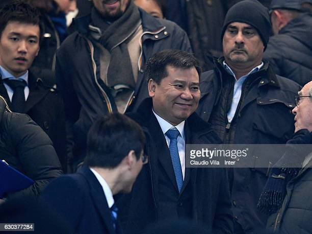Chairman of Suning holdings group Zhang Jindong attends prior to the Serie A match between FC Internazionale and SS Lazio at Stadio Giuseppe Meazza...