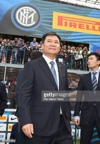 Chairman of Suning holdings group Zhang Jindong attends the Serie A match between FC Internazionale and Juventus FC at Stadio Giuseppe Meazza on...