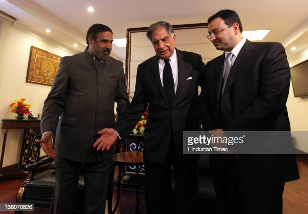 Chairman of Tata Sons Ratan Tata and Cyrus Mistry Deputy Chairman of Tata Sons meet with Commerce and Industry Minister Anand Sharma on December 22...