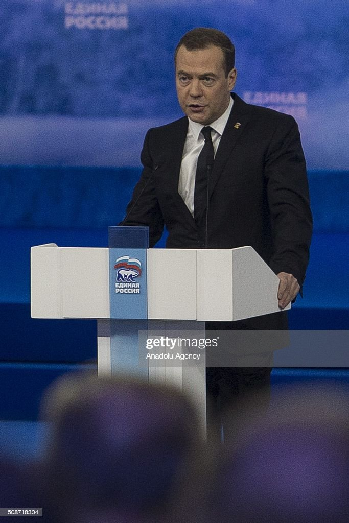 Chairman of the All-Russian political party 'UNITED RUSSIA' and the Chairman of the Russian Government during the first phase of the XV Congress of 'United Russia' party at ENEA in Moscow, Russia on February 06, 2016.