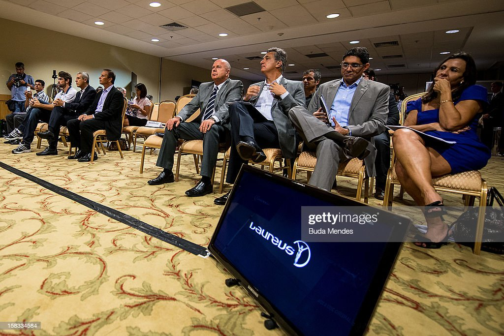 Chairman of the Athletes COB, Bernard Rajzman (4R) and COB superintendent, Marcus Vinicius Freire (3R), during a press conference to announce the Nominees for the 2012 Laureus World Sports Awards at Windsor Atlantica Hotel on December 13, 2012 in Rio De Janeiro, Brazil. The Laureus World Sports Awards is recognised as the premier honours event in the international sporting calendar as stars of the sporting world come together to salute the finest sportsmen and sportswomen of the year.