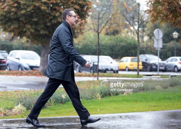 Chairman of the Austrian Freedom Party HeinzChristian Strache arrives for talks with Foreign Minister and chairman of the Austrian People's Party...