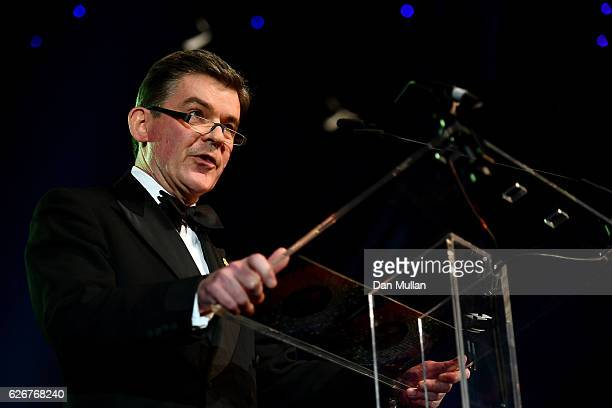 Chairman of the BOA Sir Hugh Robertson gives a speech as he attends the Team GB Ball at Battersea Evolution on November 30 2016 in London England