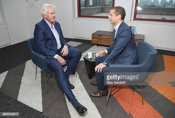 Chairman of the board and chief executive officer of General Electric Jeff Immelt seen during an interview with LinkedIn executive editor Dan Roth at...