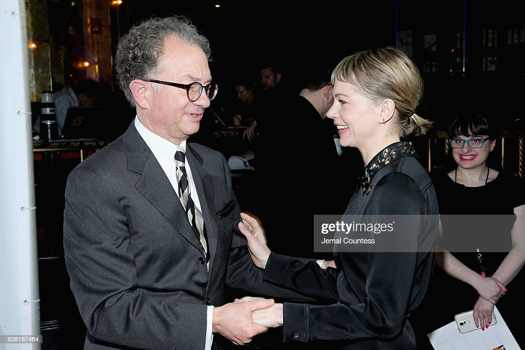 Chairman of the Board for the American Theatre Wing <a gi-track='captionPersonalityLinkClicked' href=/galleries/search?phrase=William+Ivey+Long&family=editorial&specificpeople=1794786 ng-click='$event.stopPropagation()'>William Ivey Long</a> (L) and actress <a gi-track='captionPersonalityLinkClicked' href=/galleries/search?phrase=Michelle+Williams+-+Actress&family=editorial&specificpeople=201698 ng-click='$event.stopPropagation()'>Michelle Williams</a> attend the 2016 Tony Awards Meet The Nominees Press Reception on May 4, 2016 in New York City.
