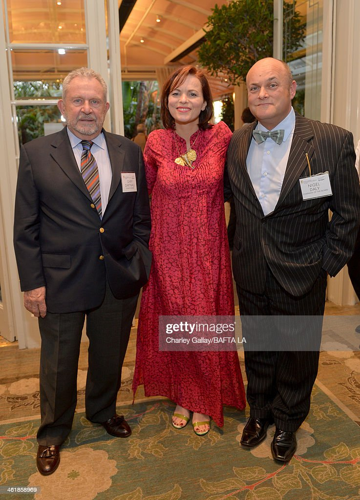 Chairman of the Board Gary Dartnall, Louise Salter, and BAFTA board member Nigel Daly attend the BAFTA LA 2014 Awards Season Tea Party at the Four Seasons Hotel Los Angeles at Beverly Hills on January 11, 2014 in Beverly Hills, California.