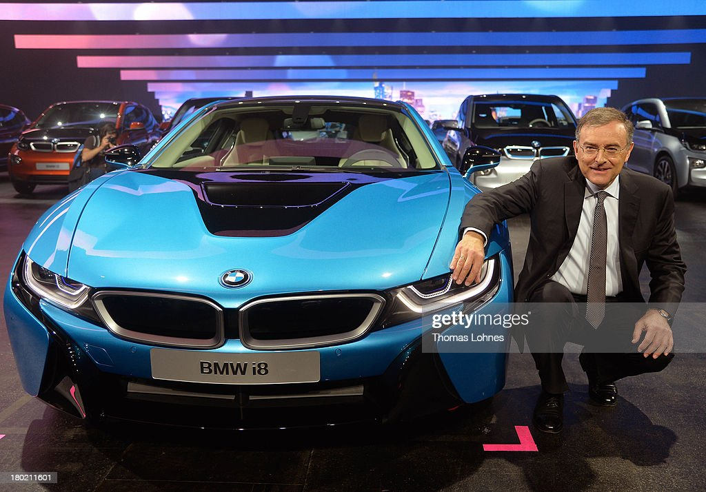 Chairman of the board of BMW Norbert Reithofer presents the new BMW i8 at the IAA international automobile show on September 10 2013 in Frankfurt...