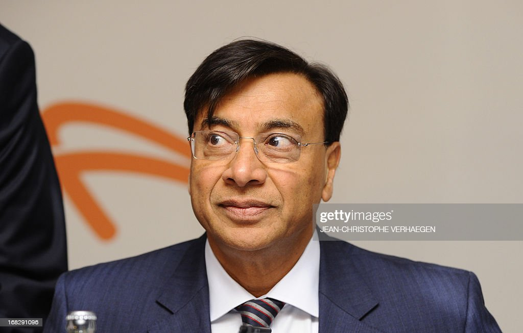 Chairman of the Board of Directors and CEO of ArcelorMittal Lakshmi Mittal waits prior to an Annual General Meeting of shareholders on May 8 2013 at...