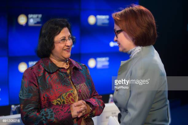 Chairman of the Board of Directors State Bank of India Arundhati Bhattacharya and Governor Central Bank of the Russian Federation Elvira Nabiullina...