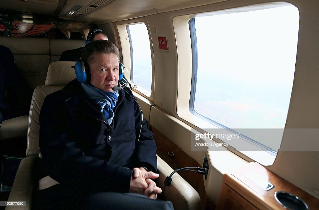 Chairman of the Board of Gazprom Alexey Miller is seen during examination with 4-hour helicopter tour with Turkey's Energy Minister Taner Yildiz (not seen) on possible course of Turkish Stream pipeline in Istanbul, Turkey on February 08, 2015.