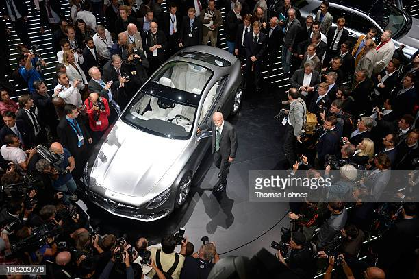 Chairman of the board of german auto giant Daimler AG Dieter Zetsche presents the new Mercedes SClass Coupe concept car at the IAA international...