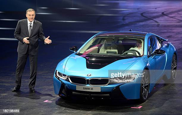 Chairman of the Board of Management of BMW AG Dr Norbert Reithofer presents the new BMW i8 hybrid supercar at the IAA International Automobile...