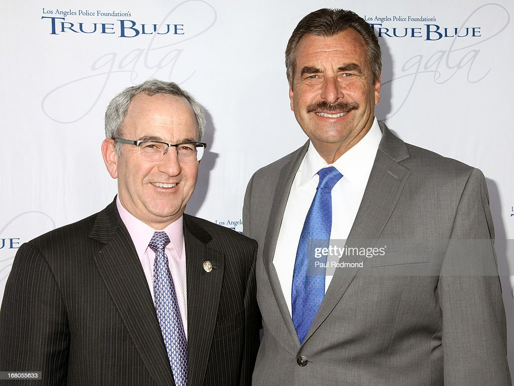 Chairman of the Board of the Los Angeles Police Foundation Lloyd Grief and Los Angeles Police Department Chief <a gi-track='captionPersonalityLinkClicked' href=/galleries/search?phrase=Charlie+Beck&family=editorial&specificpeople=6324682 ng-click='$event.stopPropagation()'>Charlie Beck</a> attend The Los Angeles Police Foundation's 15th Anniversary True Blue Gala at Paramount Studios on May 2, 2013 in Hollywood, California.