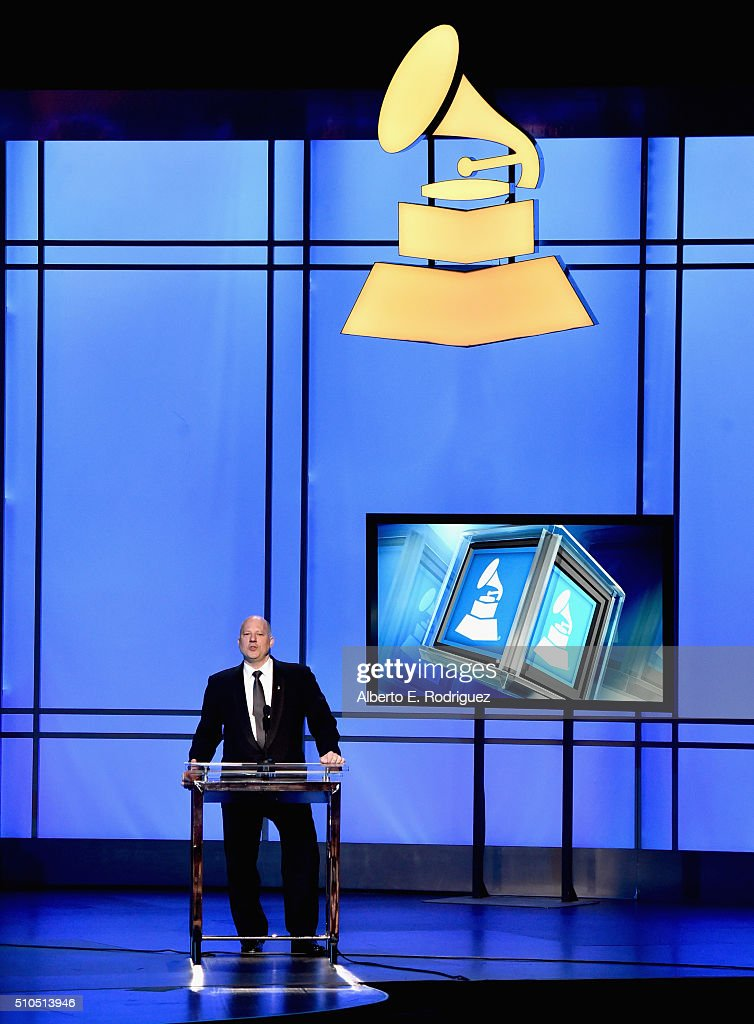 Chairman of the Board of Trustees of the Recording Academy John Poppo onstage during the GRAMMY PreTelecast at The 58th GRAMMY Awards at Microsoft...