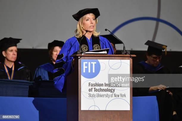 Chairman of the Board of Trustees SUNY Elizabeth T Peek speaks onstage during The Fashion Institute of Technology's 2017 Commencement Ceremony at...