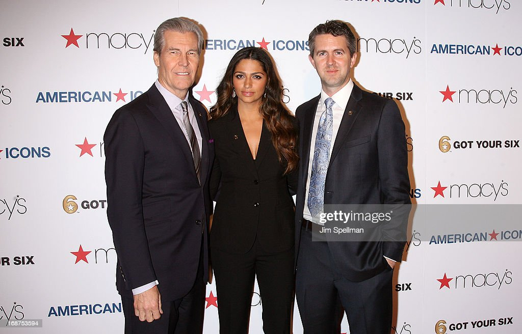 CEO, Chairman of the Board, President, and Director at Macy's, Inc Terry J. Lundgren, model Camila Alves and managing director of the Got Your 6 campaign Chris Marvin attend Macy's 'American Icons' Campaign Launch at Gotham Hall on May 14, 2013 in New York City.