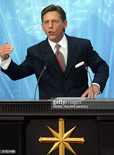 Chairman of the Board Religious Technology Center David Miscavige speaks during the inauguration of the Church of Scientology in Madrid 18 September...