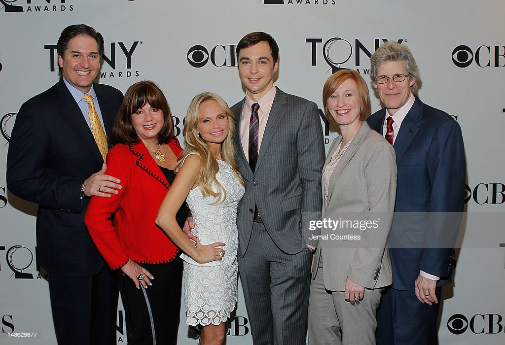 Chairman of The Boroadway League, Nick Scandalios, Executive Director of The Broadway League, Charlotte St. Martin, actors Jim Parsons and Kristin Chenoweth Executive Director of The American Theatre Wing, Heather Hitchens and Chairman of The American Theatre Wing, Ted Chapin attend the 2012 Tony Awards Nominations Announcement at The New York Public Library for Performing Arts on May 1, 2012 in New York City.