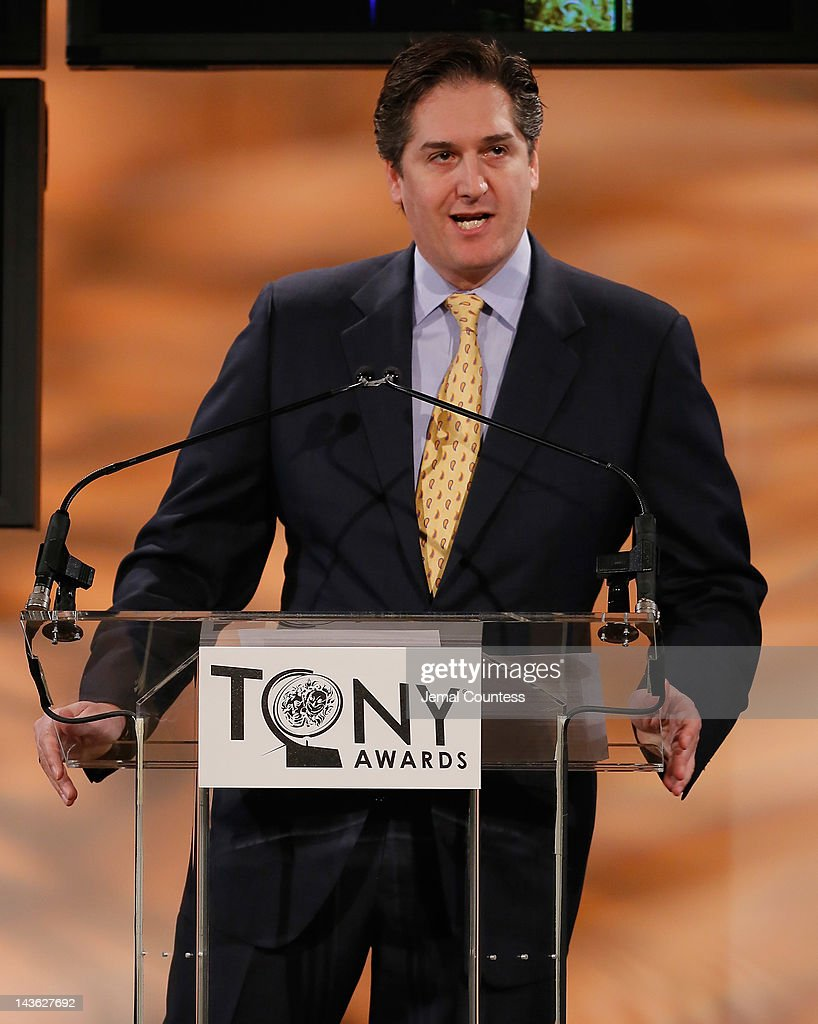 Chairman of The Boroadway League, Nick Scandalios speaks at the 2012 Tony Awards Nominations Announcement at The New York Public Library for Performing Arts on May 1, 2012 in New York City.