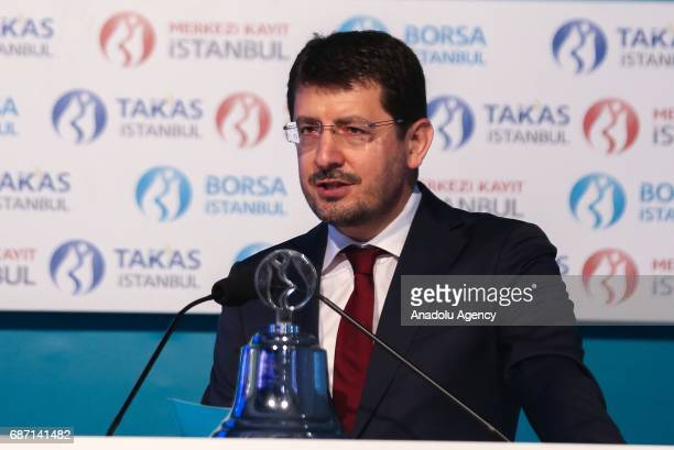 Chairman of the Borsa Istanbul Himmet Karadag speaks during his visit at Istanbul stock market in Istanbul Turkey on may 23 2017