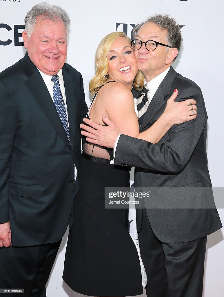 Chairman of the Broadway League Robert Wankel, actress <a gi-track='captionPersonalityLinkClicked' href=/galleries/search?phrase=Jane+Krakowski&family=editorial&specificpeople=203166 ng-click='$event.stopPropagation()'>Jane Krakowski</a>, and Chairman of the Board for the American Theatre Wing <a gi-track='captionPersonalityLinkClicked' href=/galleries/search?phrase=William+Ivey+Long&family=editorial&specificpeople=1794786 ng-click='$event.stopPropagation()'>William Ivey Long</a> attend the 2016 Tony Awards Meet The Nominees Press Reception on May 4, 2016 in New York City.