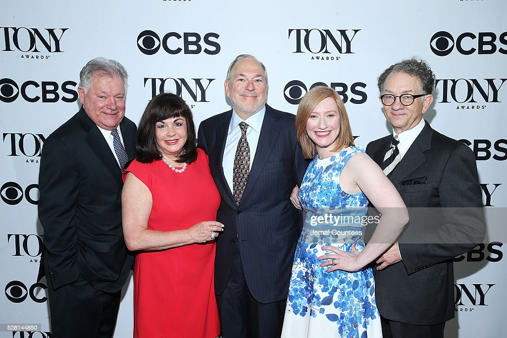 Chairman of the Broadway League Robert Wankel, President of The Broadway League Charlotte St. Martin, Chief Operating Officer and Executive Vice President of Key Brand Entertainment, Inc. Miles Wilkin, President of the American Theatre Wing Heather Hitchens, and Chairman of the Board for the American Theatre Wing William Ivey Long attend the 2016 Tony Awards Meet The Nominees Press Reception on May 4, 2016 in New York City.