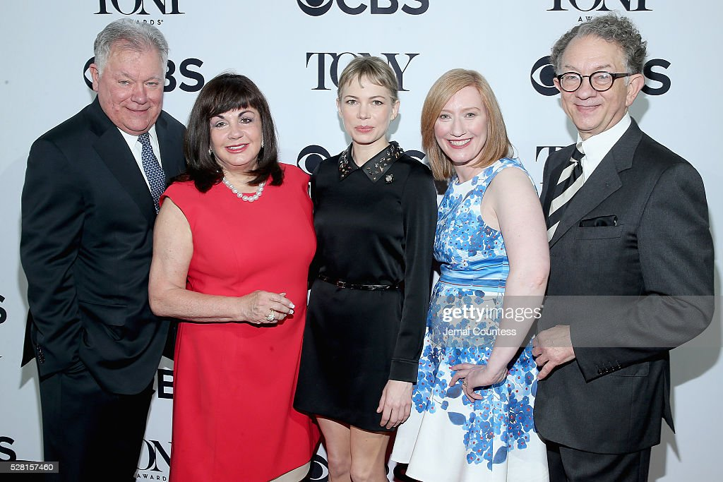 Chairman of the Broadway League Robert Wankel, President of The Broadway League Charlotte St. Martin, Actress Michelle Williams, President of the American Theatre Wing Heather Hitchens, and Chairman of the Board for the American Theatre Wing William Ivey Long attend the 2016 Tony Awards Meet The Nominees Press Reception on May 4, 2016 in New York City.