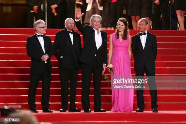 Chairman of the Cannes Film Festival Gilles Jacob Cannes Film Festival artistic director Thierry Fremaux actor Alain Delon Aurelie Filippetti and...