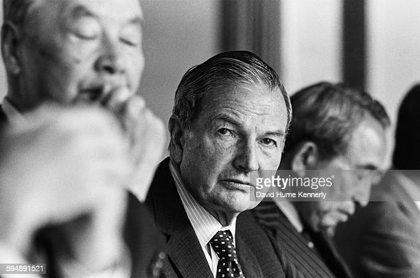 Chairman of the Chase Manhattan Corporation David Rockefeller during a meeting circa 1981 in Tokyo Japan