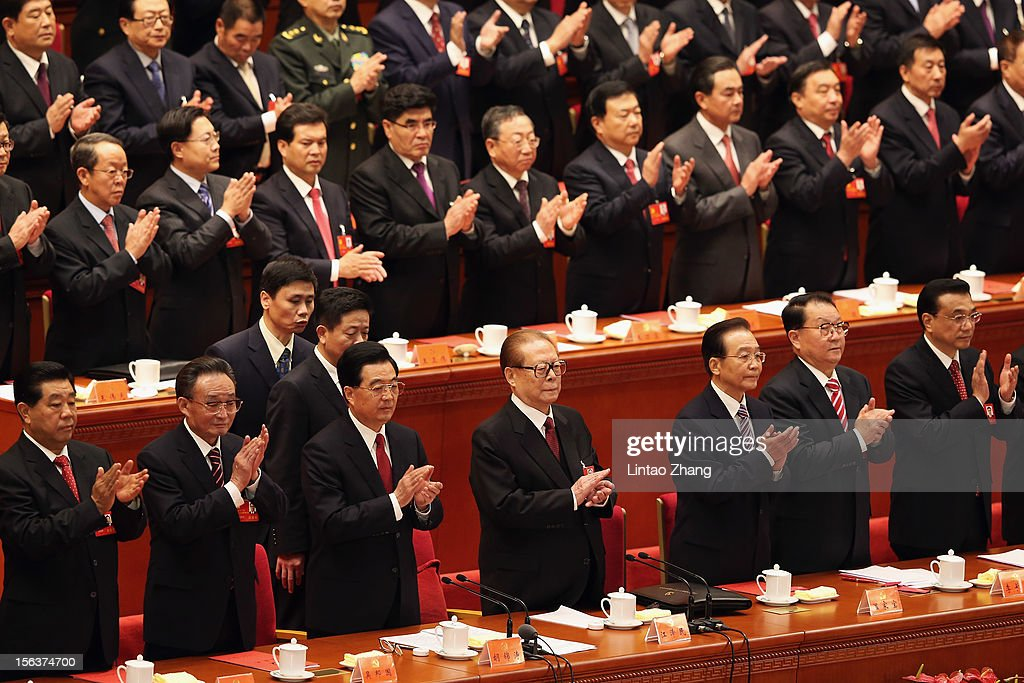 Chairman of the Chinese People's Political Consultative Conference <a gi-track='captionPersonalityLinkClicked' href=/galleries/search?phrase=Jia+Qinglin&family=editorial&specificpeople=687988 ng-click='$event.stopPropagation()'>Jia Qinglin</a>,Chinese Chairman and Party Secretary of the National Peoples Congress <a gi-track='captionPersonalityLinkClicked' href=/galleries/search?phrase=Wu+Bangguo&family=editorial&specificpeople=604934 ng-click='$event.stopPropagation()'>Wu Bangguo</a>, Chinese President <a gi-track='captionPersonalityLinkClicked' href=/galleries/search?phrase=Hu+Jintao&family=editorial&specificpeople=203109 ng-click='$event.stopPropagation()'>Hu Jintao</a>, former president <a gi-track='captionPersonalityLinkClicked' href=/galleries/search?phrase=Jiang+Zemin&family=editorial&specificpeople=159399 ng-click='$event.stopPropagation()'>Jiang Zemin</a>,Premier <a gi-track='captionPersonalityLinkClicked' href=/galleries/search?phrase=Wen+Jiabao&family=editorial&specificpeople=204598 ng-click='$event.stopPropagation()'>Wen Jiabao</a>, <a gi-track='captionPersonalityLinkClicked' href=/galleries/search?phrase=Li+Changchun&family=editorial&specificpeople=2885387 ng-click='$event.stopPropagation()'>Li Changchun</a> a member of the Standing Committee of the Political Bureau of the Communist Party of China (CPC) Central Committee and <a gi-track='captionPersonalityLinkClicked' href=/galleries/search?phrase=Li+Keqiang&family=editorial&specificpeople=2481781 ng-click='$event.stopPropagation()'>Li Keqiang</a> vice premier stand during the closing of the 18th Communist Party Congress at the Great Hall of the People on November 14, 2012 in Beijing, China. The Communist Party Congress will convene from November 8-14 and will determine the party's next leaders.