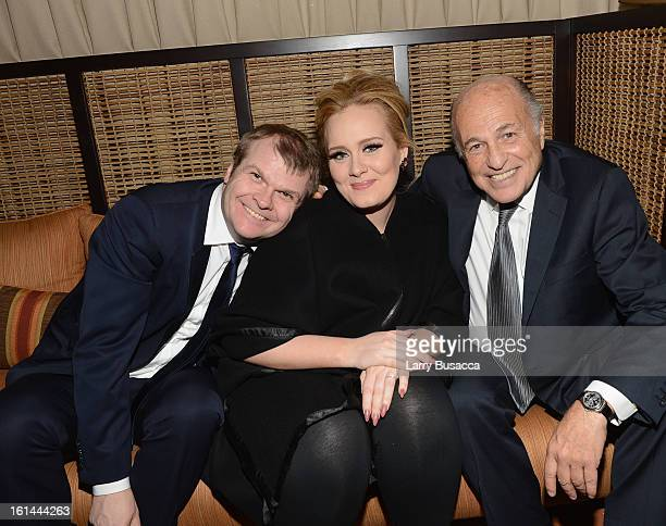 Chairman of the Columbia Records Rob Stringer singer Adele and Chairman and Chief Executive Officer Sony Music Entertainment Doug Morris attend Sony...