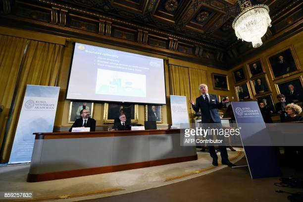 Chairman of the comittee for the Nobel Economics Prize Per Stromberg Secretary General of the Royal Swedish Academy of Sciences Goran Hansson listent...