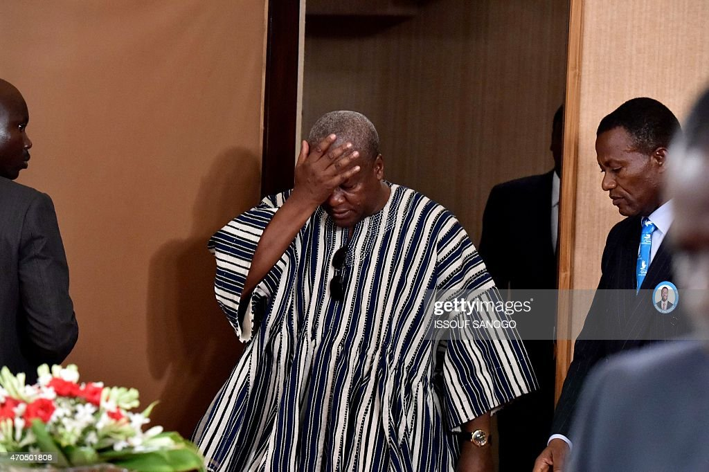 Chairman of the Economic Community Of West African States (ECOWAS) and president of Ghana, <a gi-track='captionPersonalityLinkClicked' href=/galleries/search?phrase=John+Dramani+Mahama&family=editorial&specificpeople=6829053 ng-click='$event.stopPropagation()'>John Dramani Mahama</a>, gestures as he arrives for a meeting with Togolese president Faure Gnassingbe in Lome on April 20, 2015. After meeting with the outgoing President Faure Gnassingbe, who is seeking a third five-year term, the other four candidates (all from the opposition, including the most popular, Jean-Pierre Fabre) and leaders of different parties, Mahama asked in a press conference in Lome that Togolese electoral commission clarifies several points ahead of presidential elections set to take place on April 24, 2015.