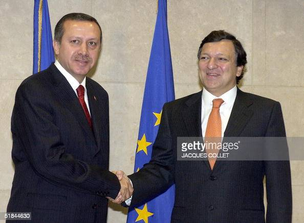 Chairman of the European Commission Jose Manuel Barroso shakes hands with Turkish Prime Minister Recep Tayyip Erdogan prior to a bilateral meeting at...