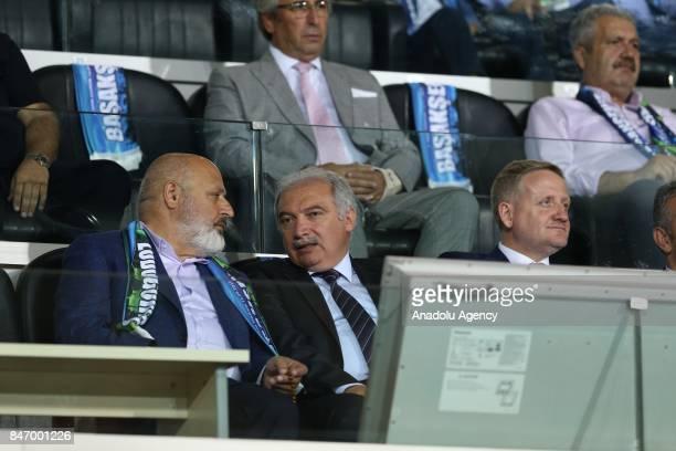 Chairman of the Executive Board of AK Party Ethem Sancak and Chairman of Medipol Basaksehir Goksel Gumusdag watch the UEFA Europa League Group C...