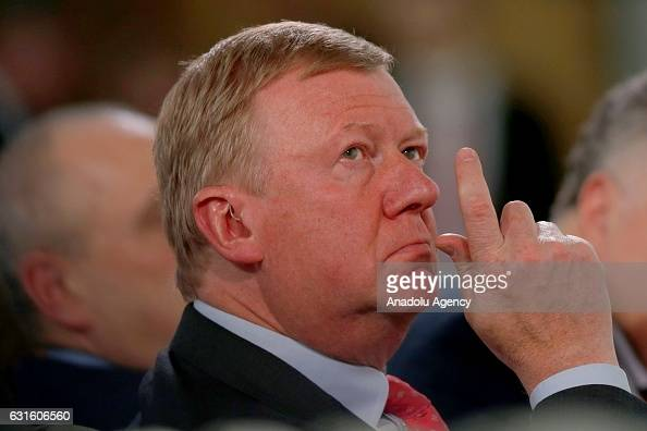 Chairman of the Executive Board of RUSNANO Corporation Anatoly Chubais attends the panel discussion titled 'Sustainable Economic Growth A Model for...