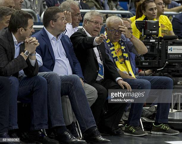 Chairman of the Fenerbahce Aziz Yildirim is seen during the Turkish Airlines Euroleague Final game between Fenerbahce Istanbul and CSKA Moscow at the...