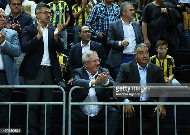 Chairman of the Fenerbahce Aziz Yildirim is seen during Turkish Airlines Euroleague basketball match between Fenerbahce Ulker and Bayern Munich at...