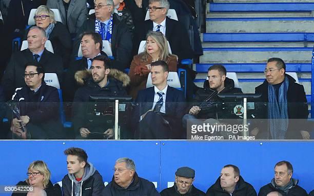 Chairman of The Football Association Greg Clarke with Leicester City vicechairman Aiyawatt Srivaddhanaprabha players Christian Fuchs Robert Huth and...