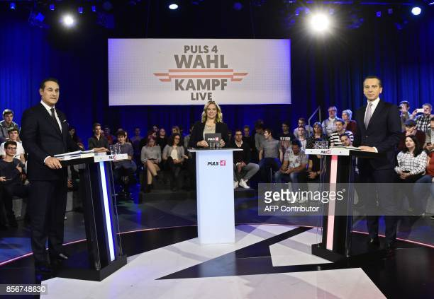 Chairman of the Freedom Party of Austria HeinzChristian Strache tv host Corinna Milborn and Chancellor of Austria and chairman of the Social...