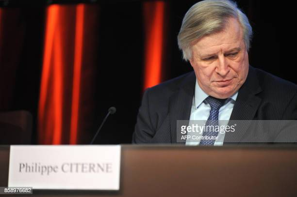 Chairman of the French banking group Societe Generale Philippe Citerne gives a press conference 24 January 2008 in La Defense outside Paris Trading...