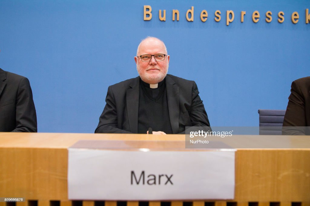 Chairman of the German Bishops' Conference Cardinal Reinhard Marx speaks at the Bundespressekonferenz in Berlin, Germany on October 10, 2017.