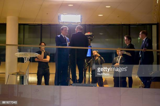 Chairman of the German Social Democratic Party Martin Schulz gives an interview to the television after the announcement of a first projection of the...