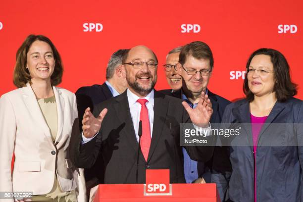 Chairman of the German Social Democratic Party Martin Schulz speaks after the announcement of a first projection of the election results in Lower...