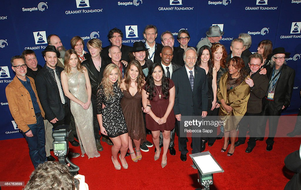 Chairman of the GRAMMY Foundation board Rusty Rueff, musicians Gavin DeGraw, Skylar Grey, John Rzeznik, Katy Bishop, Alaina Stacey, Kristen Castro, Ryan Shaw, The Recording Academy President/CEO Neil Portnow, musicians Jimmy Webb, Joy Williams, Bonnie Raitt, Valerie Simpson, Jeff Barry, J.D. Souther, and Paul Williams attend 'A Song Is Born' the 16th Annual GRAMMY Foundation Legacy Concert held at the Wilshire Ebell Theater on January 23, 2014 in Los Angeles, California.